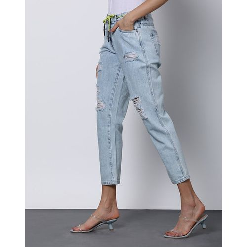 Outryt Women Mid-Rise Heavily Washed Light Blue Boyfriend Jeans