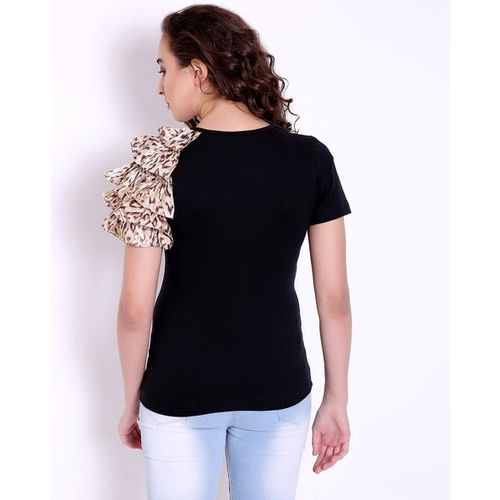 MARZENI Top with Animal Print Tiered Sleeves