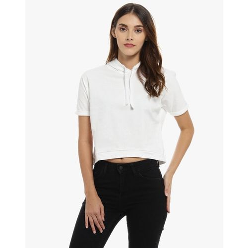 Campus Sutra Solid Crop Top with Drawstring Hood