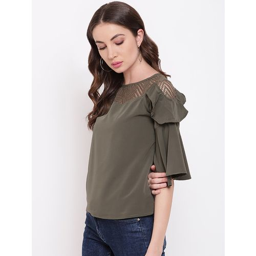 Mayra bell sleeved mesh panel top