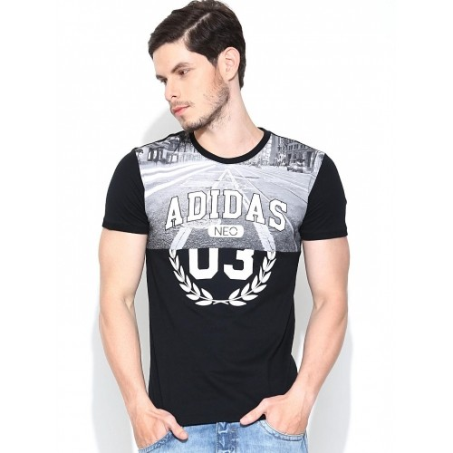 148734c91013 Buy Adidas NEO Black Collage Graphic Print T-shirt online | Looksgud.in