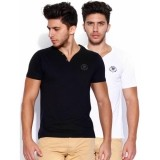 Roadster White & Black Cotton Solid Tees Pack Of 2
