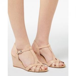 Dune London Kaira Reptilian Pattern T-strap Wedge Sandals