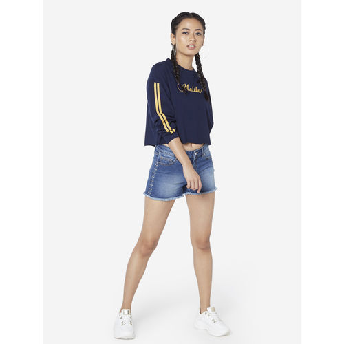 Nuon Women Nuon by Westside Navy Text Print Cara Cropped T-Shirt