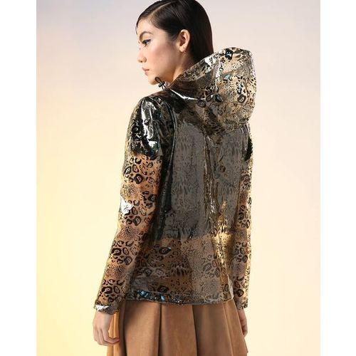 AJIO Translucent Animal Print Hooded Zip-Front Raincoat