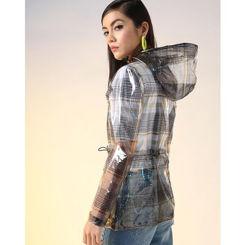 AJIO Transparent Checked Hooded Zip-Front Raincoat