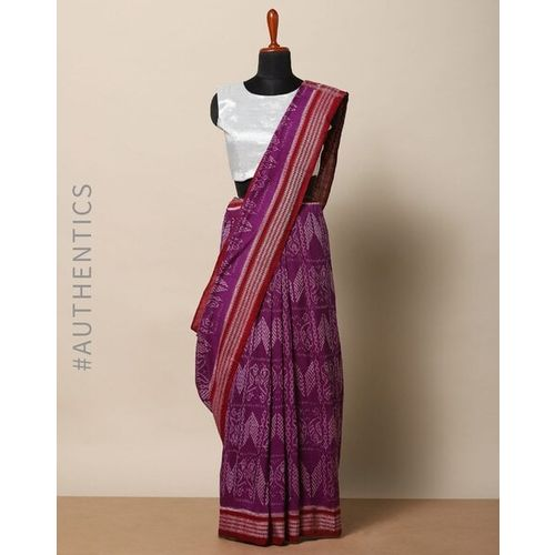 Indie Picks Handloom Sambalpuri Ikat Fine Cotton Saree