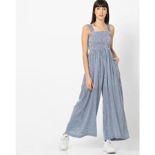 ONLY Checked Jumpsuit with Smocked Bodice