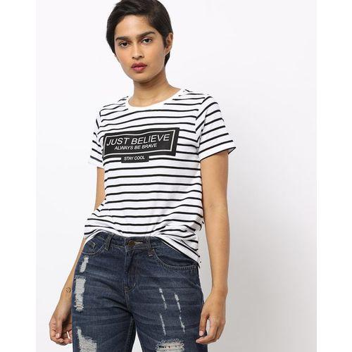 DNMX Typographic Print Striped Round-Neck T-shirt