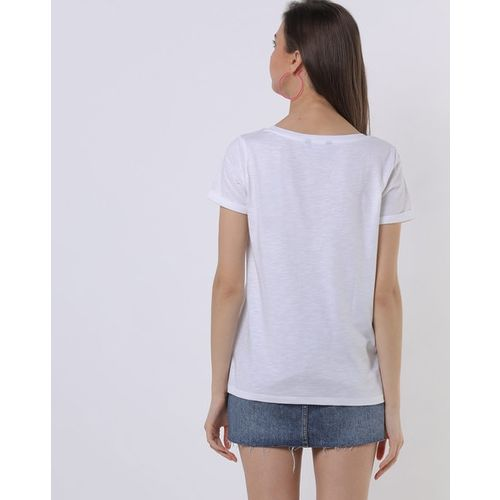 Fig Heathered Crew-Neck Top with Lace Yoke