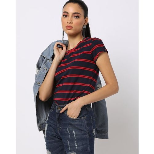 KRAUS Striped T-shirt with Criss-Cross Lacing
