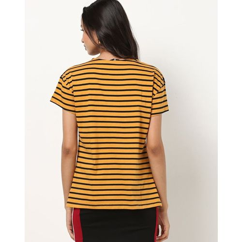 Fig Striped Crew-Neck T-shirt with Lace Appliques