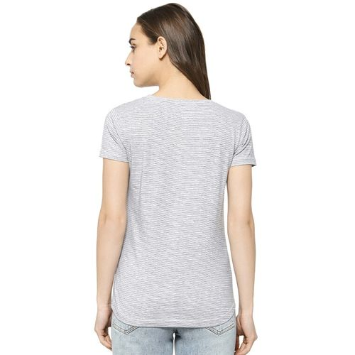 Campus Sutra cut out detail striped tee