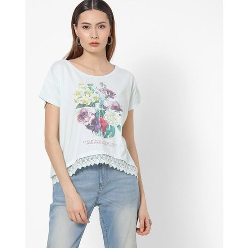 UNITED COLORS OF BENETTON Floral Print High-Low Top with Lace Hemline