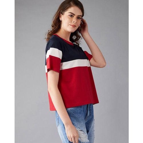 MISS CHASE Colourblock Crew-Neck T-shirt