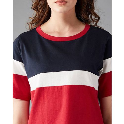 MISS CHASE Colourblock Crew-Neck T-shirt