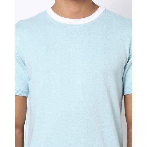 AJIO Slim Fit Crew-Neck T-shirt with Contrast Neckline