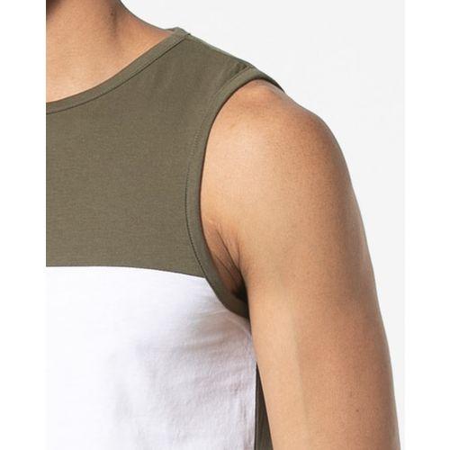 AJIO Colourblock Sleeveless Crew-Neck T-shirt
