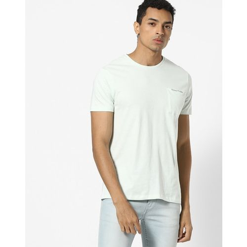 AJIO Slim Fit Crew-Neck T-shirt with Printed Patch Pocket