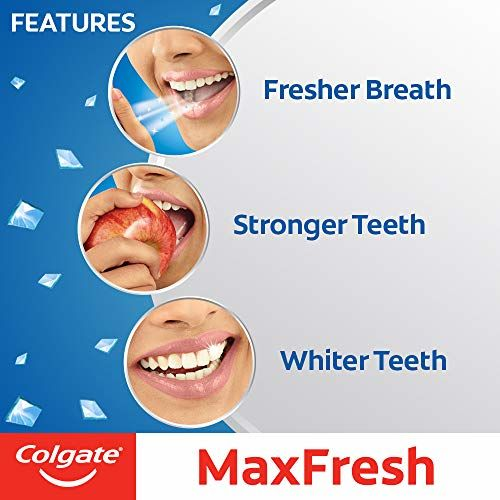 Colgate MaxFresh Toothpaste, Blue Gel Paste with Menthol for Super Fresh Breath, 600g, 150g X 4 (Peppermint Ice)
