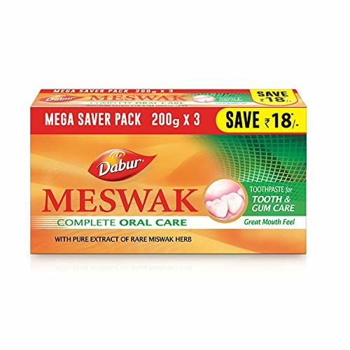DABUR Meswak: Indias No-1 Fluoride Free Toothpaste   Herbal paste made from pure extract of rare Miswak herb - 600g (200g x3)
