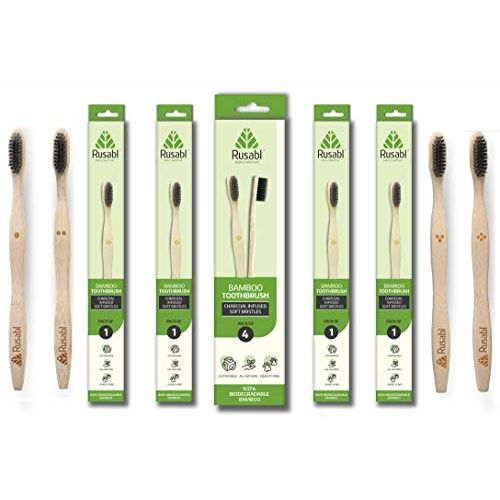 Minimo Rusabl Brush (earlier Minimo) - Bamboo Toothbrush with Charcoal Activated Soft Bristles - Adult Pack (4 Adult Bamboo Toothbrush)