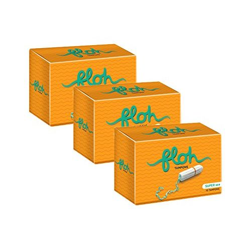 FLOH FDA Approved Super Tampons For Women Heavy Flow Pack of 3 (30 Pieces)