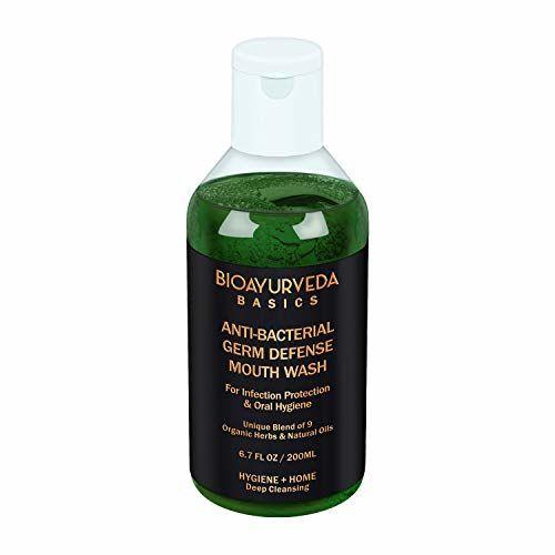 BIOAYURVEDA ANTI-BACTERIAL GERM DEFENSE MOUTH WASH   Ayurvedic Oral Rinse with Neem, Mint, Turmeric Tea Tree oil   Natural Organic Mouthwash liquid for bad