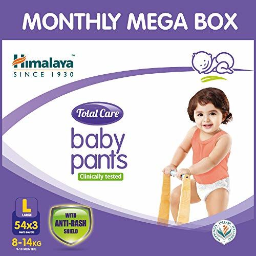 Himalaya Total Care Baby Pants Diapers Monthly Mega Box, Large (162 Count)