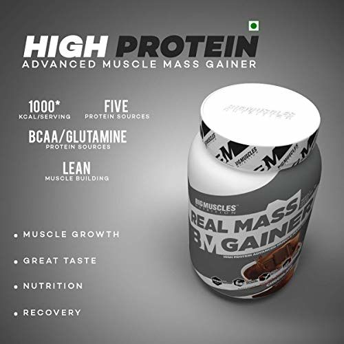 Bigmuscles Nutrition Combo: Real Mass Gainer - 1 kg (Chocolate) and Crude Whey - 1 kg (Cafe Latte), 24g Protein