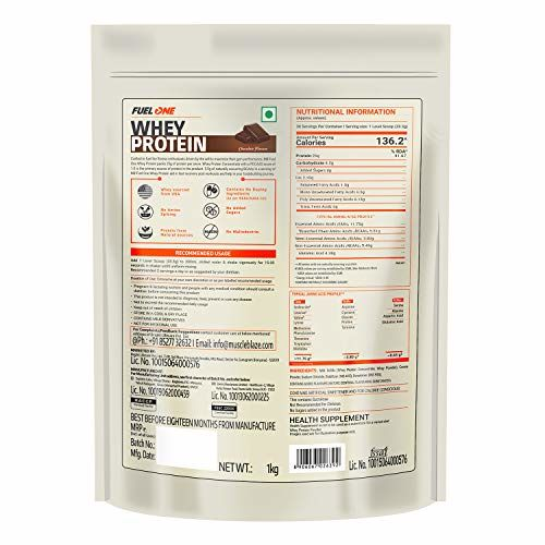 MuscleBlaze Fuel One Whey Protein, 2.2lb/1 Kg, Chocolate