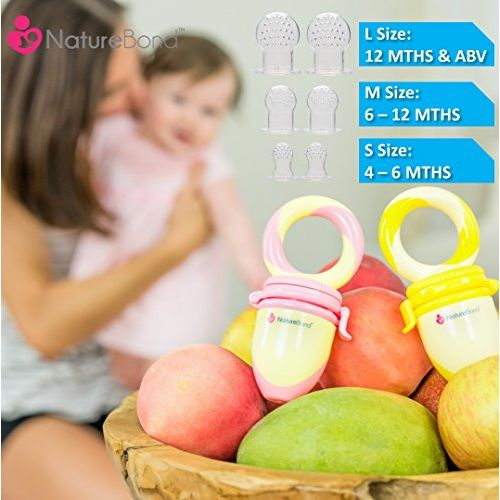 NatureBond Baby Food and Fruit Nibbler Pacifier Teether | Infant Teething Toy Teether in Appetite Stimulating Colors | Bonus Includes All Sizes Silicone Sacs