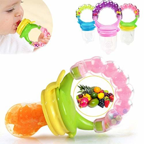 BabyGo Organic Baby's BPA-Free Silicone Nipple Food Nibbler for Fruits with Rattle Handle and Storage Box (Multicolour, 6-12 Months)