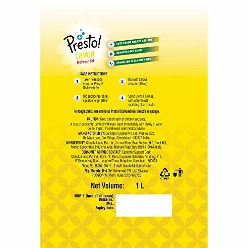 Amazon Brand - Presto! Dishwash Gel Lemon - 1 L