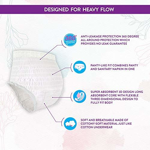 Clovia Heavy Flow Disposable Period Panties for Sanitary Protection,L - XL (5 Pack - 10 Psc) - Sanitary Pads Pant Style