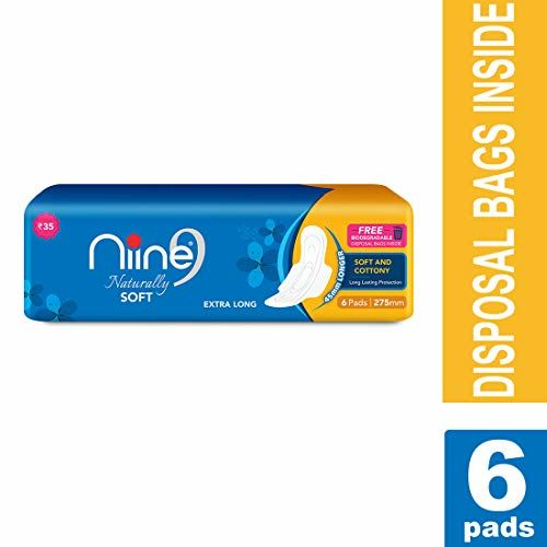 Niine Naturally Soft Extra Long Sanitary Pads for women (Pack of 2), With Biodegradable disposable bags inside, 12 Pads Count