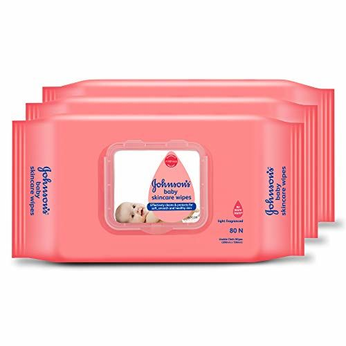 Johnson's Baby Wipes Pack of 3 (80 wet wipes per pack )