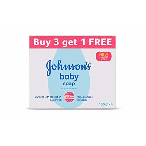 Johnson's Baby Soap 100g (Buy 3 Get 1 Free) & Johnson's Baby Wipes, Pack of 2 (160 Wet Wipes)