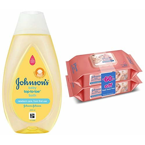 Johnson's Baby Top to Toe Baby Bath 200ml & Baby Wipes, Pack of 2 (160 Wet Wipes) Combo