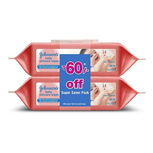 Johnson's Baby No More Tears Baby Shampoo 500ml & Baby Wipes, Pack of 2 (160 Wet Wipes) Combo