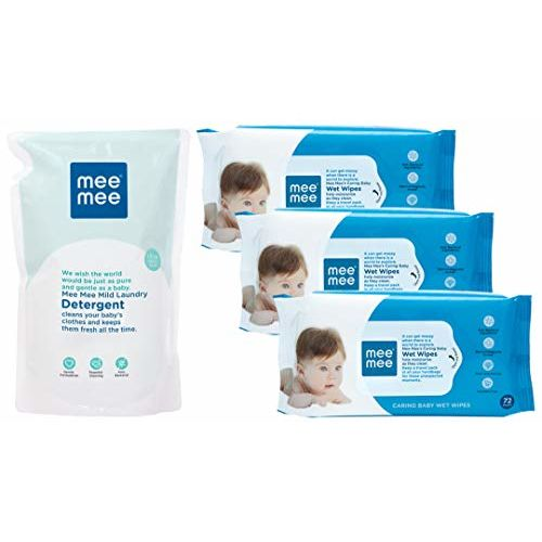Mee Mee Mild Baby Liquid Laundry Detergent Refill Pack, 1.2L & Caring Baby Wet Wipes with Aloe Vera (72 pcs/Pack) (Pack of 3) Combo