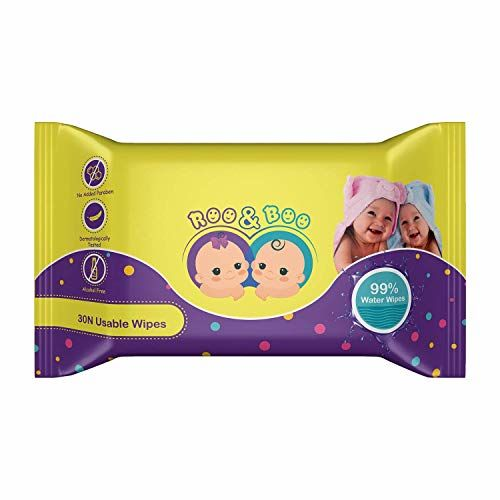 Roo & Boo Baby Wet Wipes - Paraben Free, 99% Water Wipes (30 pcs/pack) (Pack of 4)