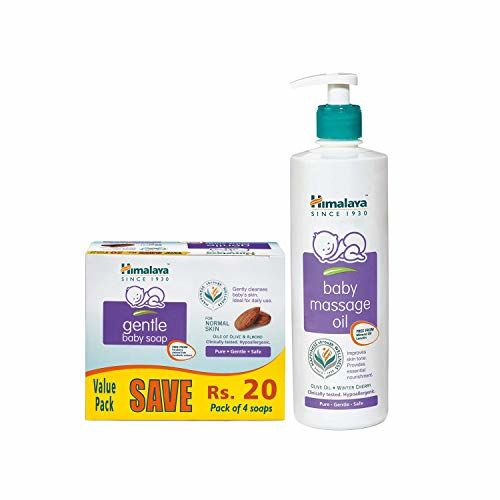 Himalaya Gentle Baby Soap Value Pack, 4 * 75g & Himalaya Baby Massage Oil (500ml)