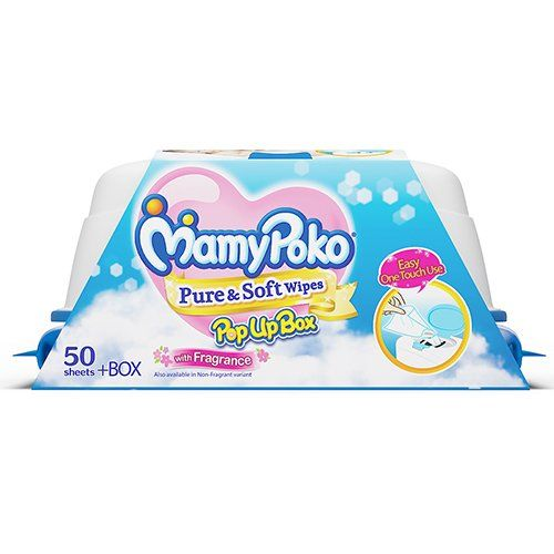 MamyPoko Pure and Soft Fragrance Wipes Box (Dark Blue, 50 Sheets)