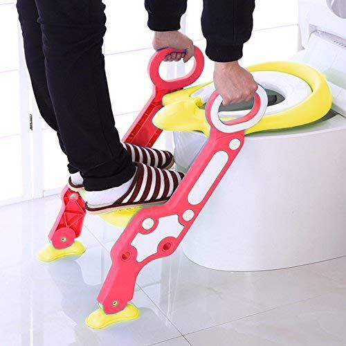 GOCART WITH G LOGO Baby Foldable Potty-Trainer Seat for Toilet Potty Stand with Ladder Step up Training Stool with Non-Slip Steps Ladder Adjustable Foldable for
