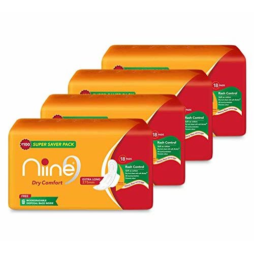 Niine Extra Long Sanitary Pads for women (Pack of 4), With disposable bags inside, 72 Pads Count (Super Saver Pack)