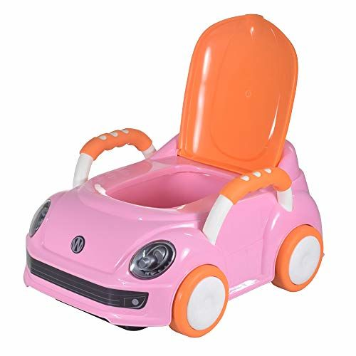 WISHKEY Car Shaped Toilet Training Potty Seat with Removable Tray and Handle for Baby (Pink)