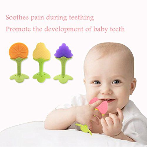 5 PCS Baby Teething Toys, Soft Fruit Teething Toys Set for Toddlers Infants, Baby Teeth Stick by Bagvhandbagro [Random Pattern]
