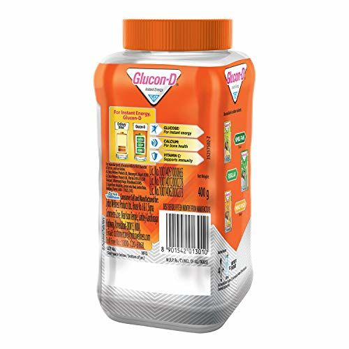 Glucon-D, Orange flavoured Glucose Based Beverage Mix - 400 g Jar