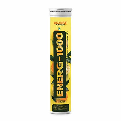 Apeiro ENERG 1000 - Vitamin C antioxidant 1000 mg for Healthy Skin and Better Immunity - 20 Effervescent Tabletsa Orange Flavour